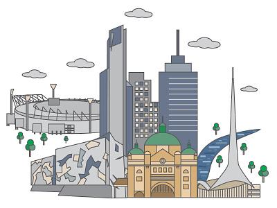 Melbourne  illustration melbourne city australia places beautiful