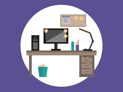 My Desk flat design illustration desk