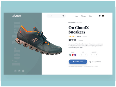 """""""ASICS"""" Product Page uxdesign visual sport sneekers onepage adobe photoshop ui ux web sketch"""