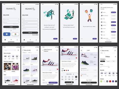 RUNHE Shoes  App app logo dribble shot online shop ui shoe store interaction mobile app e-commerce sports shoes app ux designs sketch