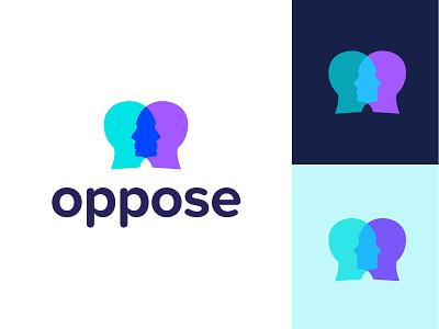 Oppose logo design branding logo design graphicdesign logo face head opposites oppose