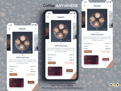 Coffee app payment page concept design ux ui figma dailyui 002