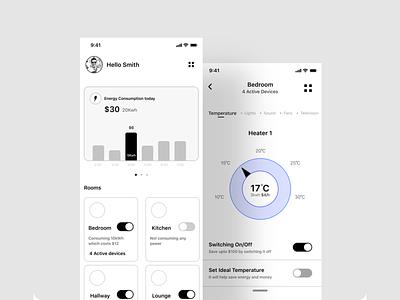 Energy consumption mobile app - UI/UX Design mobile ui energy user experience mobile app design user interface design figma uiux ui design