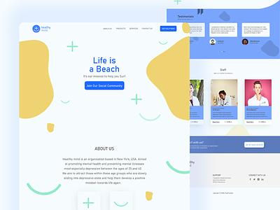 Healthy mind Landing page ux ui  ux uiux visual design branding photoshop figma ui uidesign webdesign