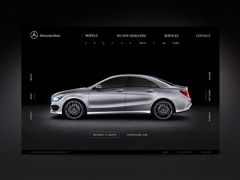 Mercedes Benz Landing Page Redesign  landing website black modern design site ux ui web car benz mercedes