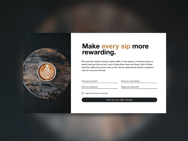 Sign up UI | Daily UI 001