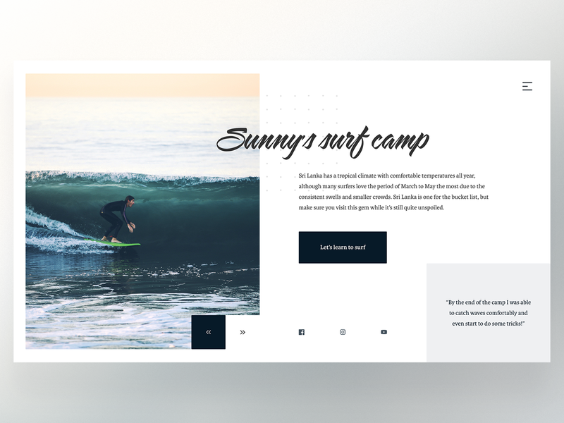 Surf Camp Landing Page typography ux ui collage abstract modern web website photography unsplash sport water surf landing page