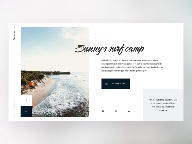 Surf camp landing page typography web ux ui minimal website abstract geometric camp sport surf landing page