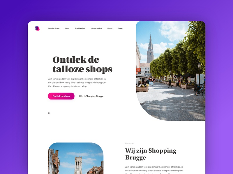 Shopping Brugge - Website update web photography typography ui ux webdesign commerce shops one page marketing tourism city landing page website