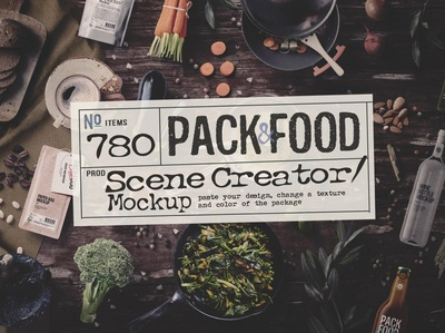 PACK&FOOD Creator / topview mockup for Adobe Photoshop
