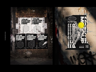 Urban Poster Wall Mockups template glued posters walls wall graphic design design brand design poster designer poster mockups poster mockup posters poster art photoshop adobe graphics mockups mockup branding poster design poster
