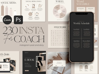 CANVA and Photoshop Instagram Creator For Coaches design template charts infographics download template adobe graphics coach branding graphic design graphicdesign design photoshop template photoshop canva template instagram story instagram post instagram social media canva