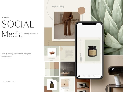 Instagram Social Media Pack: Freyā social media pack social media templates social media simple instagram posts modern instagram template instagram stories pack instagram stories template instagram stories instagram story instagram post instagram banner instagram elegant design blogger blog art advertising