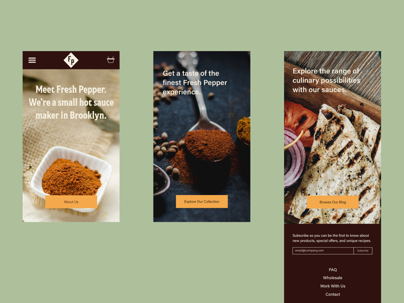Fresh Pepper Website-Mobile landing page web design website spices mobile site hot sauce gourmet food culinary