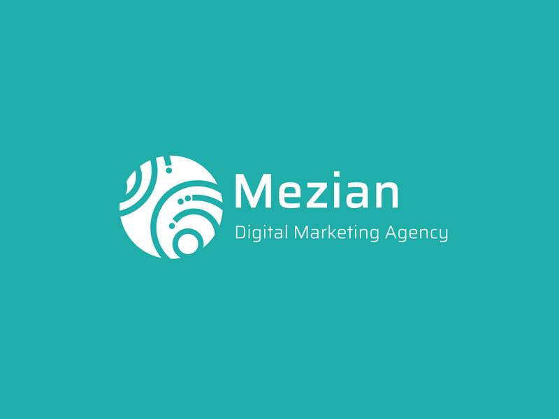 Mezian flat agency digital marketing web illustration logo design branding
