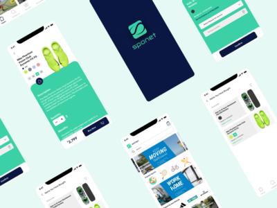 Sponet - The Sports Store | App UI Design ecommerce app sports branding app vector typography payment minimal darkmode ux ui design