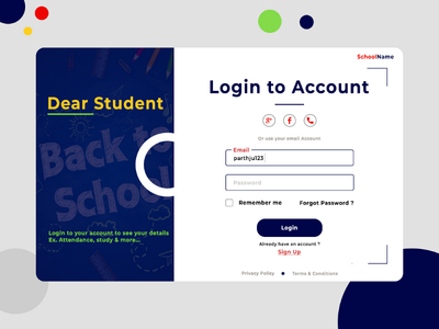 School Login Page Concept creative design design concept web login design login web page login design web page design school web page school login page login