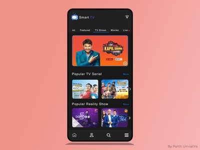Creative smart TV app UI design with Live and many features.
