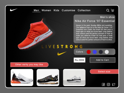 Nike redesign web UI concept