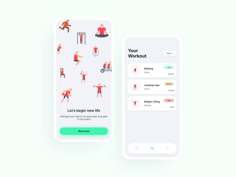 Workout App workout uidesign design app app illustration cards ui uiux ux ui minimal flat design