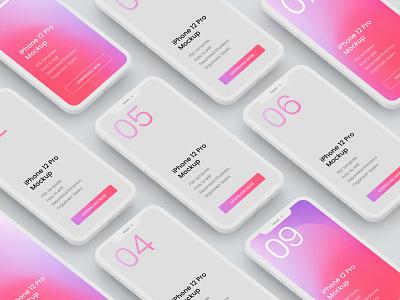 iPhone 12 Pro Clay Mockup screen render clay apple iphone 12 iphone mockup realism 2020 photorealistic mockup mockup template mockup design