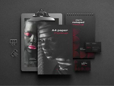 Dark Stationery Branding Mockup Set logo realism premium simple elegant luxury dark photorealistic mockup design branding mockup template mockup design