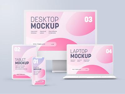 Multi-Device Clay Mockup Set 12 13 imac macbook screen device tablet ipad iphone clay photorealistic mockup mockup template mockup design