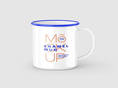 Enamel Mug Mockup Set design realism photorealistic enamel mug cup brand card business card metal mug logo branding mockup template mockup design