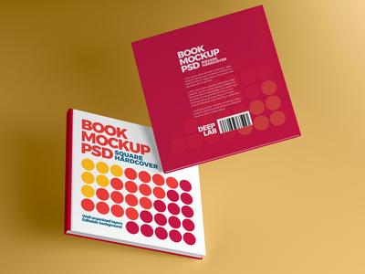 Square Book Hardcover Mockup