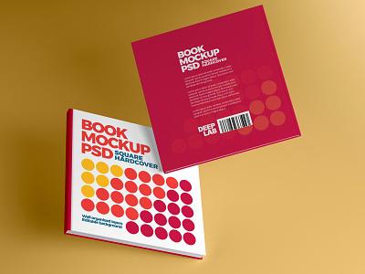 Square Book Hardcover Mockup presentation illustration branding flying square book realism photorealistic mockup photorealistic mockup template mockup design