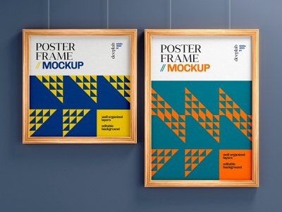 Poster Mockup With Wood Frame poster design poster frame branding photorealistic realism mockup photorealistic mockup mockup template mockup design