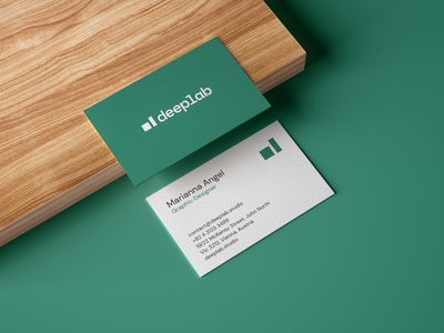 FREE Realistic Business Card Mockup on Wooden Board