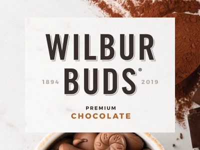 Wilbur Buds Branding typography chocolate american heritage vintage logo design packaging branding graphic design
