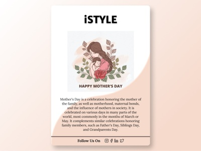 Mother's Day Card  - IStyle Brand NewsLetter typography doodleart branding figmadesign figma illustration flat minimal design