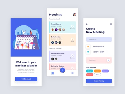Meeting Scheduler App Design time management calendar to do list to do app ux mobile app mobile ui mobile user interface user experience ui app app design scheduler schedule app meeting meeting app task management calendar app