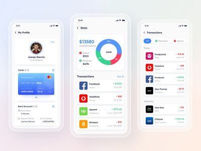 Mobile UI Kit for Wallet, Finance, Banking App. Profile | Stats send money bill pay bitcoin crypto currency ui kit ui design app designer money app money management banking app wallet app e-wallet mobile ui kit mobile ui transactions stats profile finance app app design app