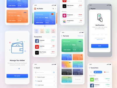 Mobile UI Kit for Wallet, Finance, Banking App. ui kit transaction credit card banking budget money management money transfer payment pay bill e-wallet cryptocurrency money currency finance wallet app designer mobile ui app design app mobile app