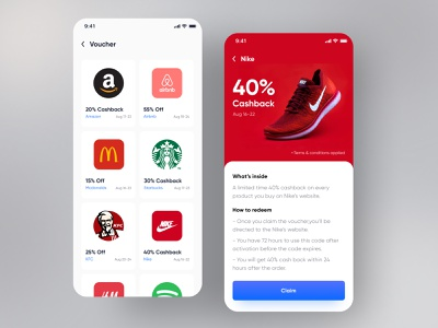 e-Wallet App Design | Voucher ui mobile app mobile ui ui kit mobile user experience user interface app app designer app design walletapp money transfer discount offer coupon payment wallet e-wallet shopping voucher