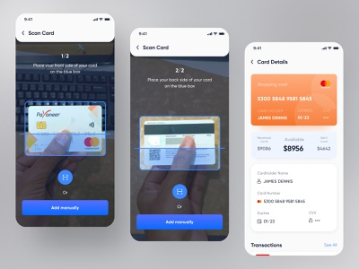 Wallet App Design | Scan Card | Card Details popular trending product design finance app banking app money app credit card card details qr code scanner scan card payment wallet e-wallet app designer mobile app mobile mobile ui app design app