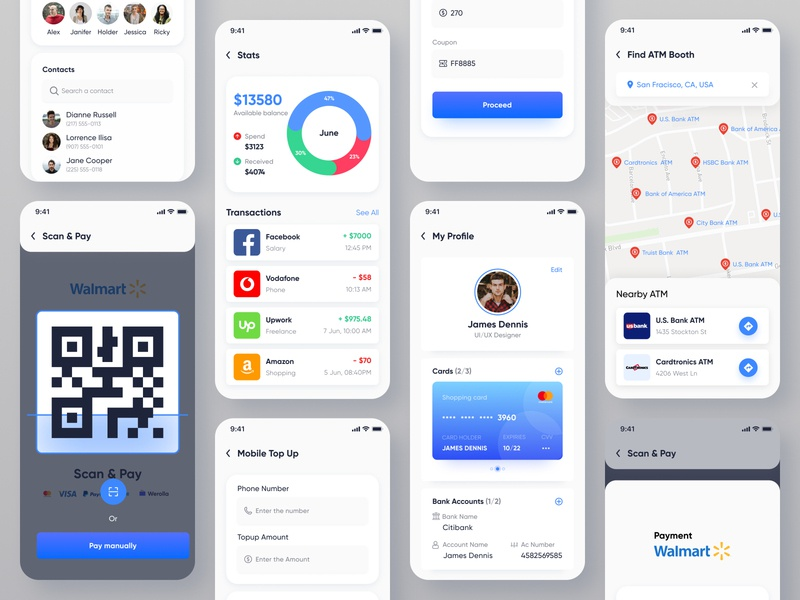 e-wallet App Design | Banking | Finance | Payment | Money ui design user interface stats scan and pay find atm money app trending shot popular shot payments finance wallet payment e-wallet product design mobile app designer mobile ui mobile app app design app