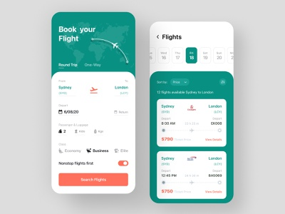 Flight Ticket Booking App | Search flight | Flights list popular shot ui kit ui design search flights boarding pass ticket airplanes product design mobile app designer mobile ui mobile app app design app booking app flight search ticket booking flight airplane flight booking