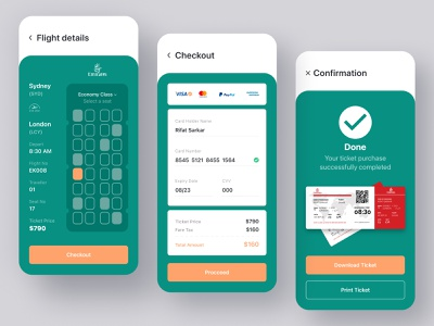 Flight Ticket Booking App | Flight Details | Checkout | Ticket flight details checkout boarding pass ticket user interface booking flight booking ticket booking airplane airline flight popular shot 2020 trend mobile app designer mobile ui mobile app app design app