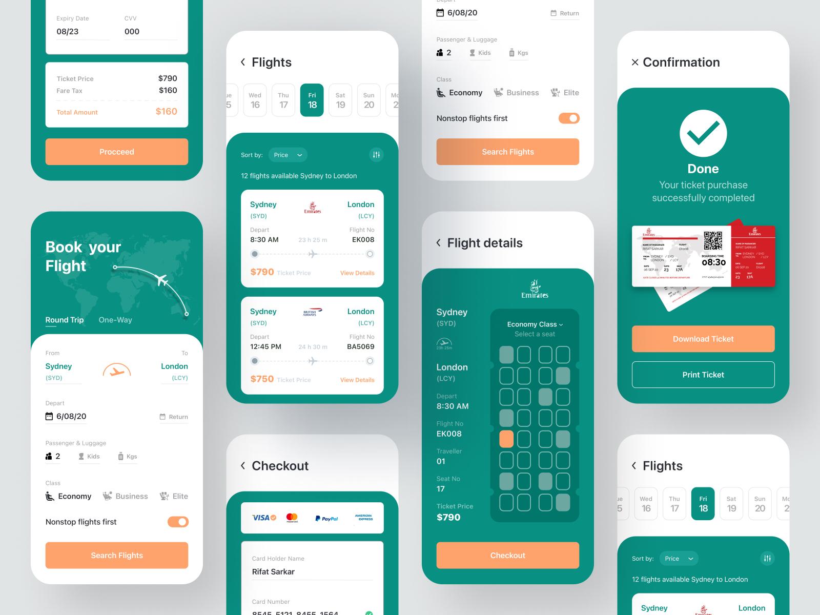Flight Ticket Booking App Design
