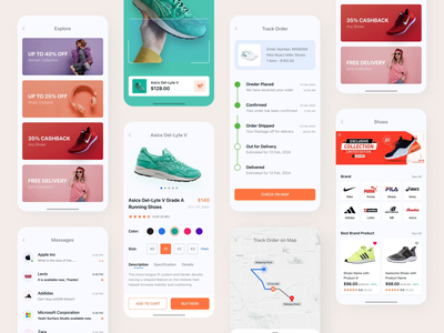 E-commerce App Design message chat messenger map track shopping app popular trending product app product details product scan shoes retail store online shopping selling app ui kit shopping e-commerce