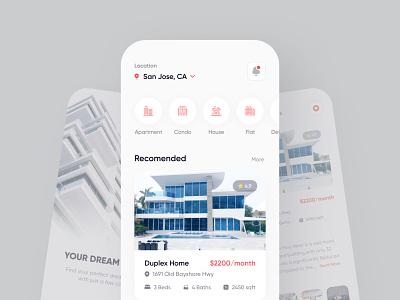 Home Rental App UI Design construction rent property minimal house rent rent app home rent renting house real estate rental app rent ui mobile app designer app design app