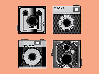 Vintage Cameras Illustrations minimal square photography camera patterns retro illustration flat vector