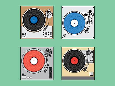 Turntables Illustrations Set vintage minimal music design retail turntable illustration flat retro vector