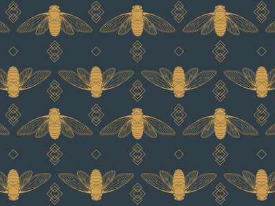 Charcoal & Gold Cicadas digital vector stationery surface design assets identity branding illustration insect art deco geometric pattern