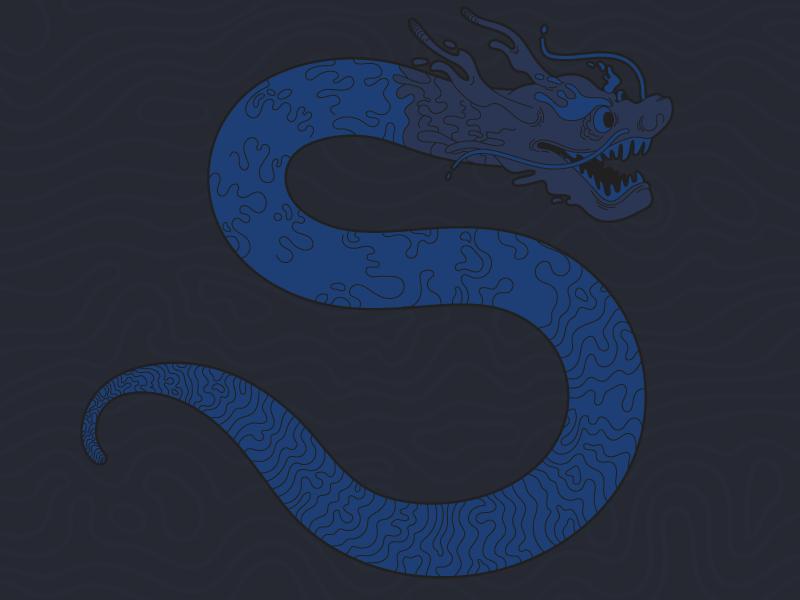 #Typehue Week 19: S type challenge project serpentine wavy lines illustration letter black blue vector dragon