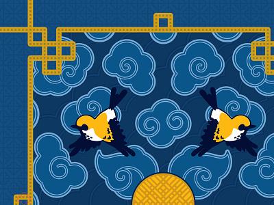 Golden Sparrows - Detail gold blue line surface historical flat style digital illustration pattern illustration vector